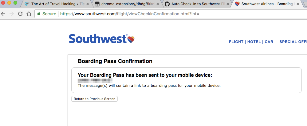 Automatic Check-In for Southwest Flights • The Art of Travel