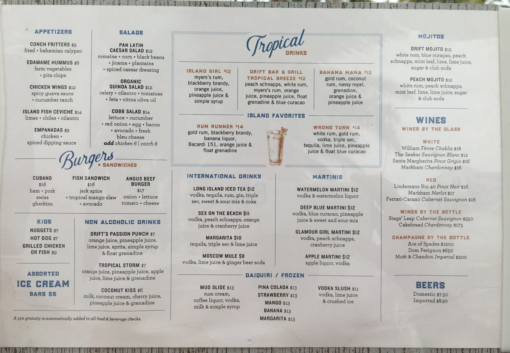 Three Palms Cuban Cafe Menu